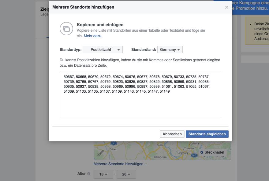 Facebook Targeting über Postleitzahlen