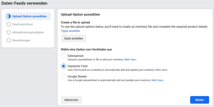 Upload Optionen Dynamic Product Ads